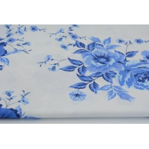 Cotton 100% cobalt flowers on a white background