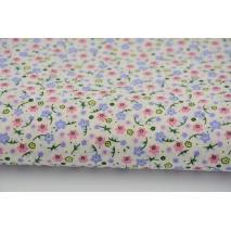 Bawełna 100% łączka różowo-fioletowa, kwiatki