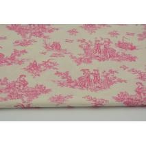 Bawełna 100% różowe naszkicowane rysunki na kremowym tle