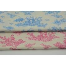 Bawełna 100% niebieskie naszkicowane rysunki na kremowym tle