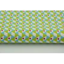 Bawełna 100% składak geometryczny bordowo-zielony