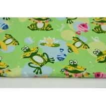 Bawełna 100% żaby nad stawem