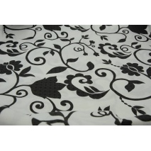 Bawełna 100% czarne kwiaty na białym tle