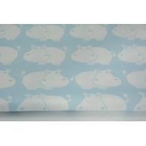 Bawełna 100% hipopotamy na niebiesko-turkusowym tle