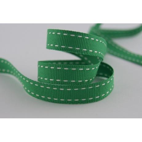 Tasiemka rypsowa zielona przeszywana 10mm x 1m