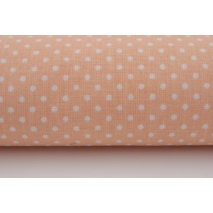 Cotton 100% white 2mm polka dots on a salmon background
