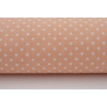 Bawełna 100% kropki białe 2mm na łososiowym tle