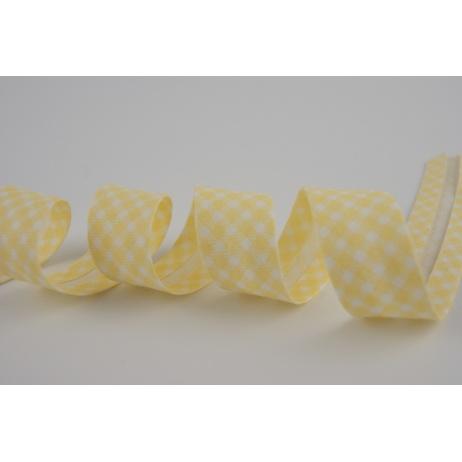 Lamówka bawełniana w żółtą krateczkę vichy 18mm
