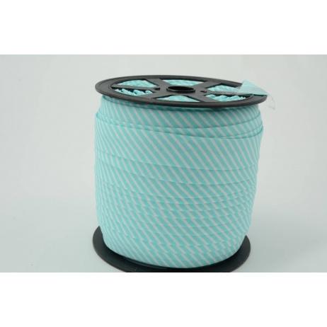 Cotton bias binding2mm turquoise stripes