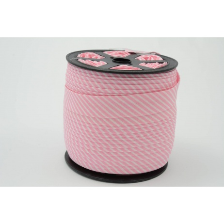 Cotton bias binding2mm pink stripes