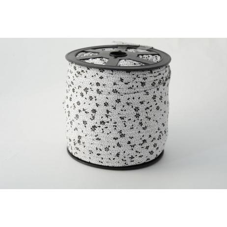 Lamówka bawełniana czarna łączka na białym tle