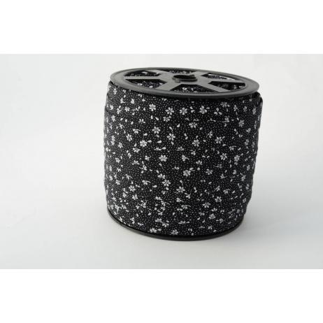 Lamówka bawełniana łączka na czarnym