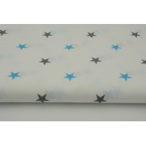 Cotton 100% stars gray, turquoise on a white background