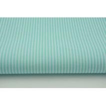 Bawełna 100% turkusowe paski 2x1mm na białym tle