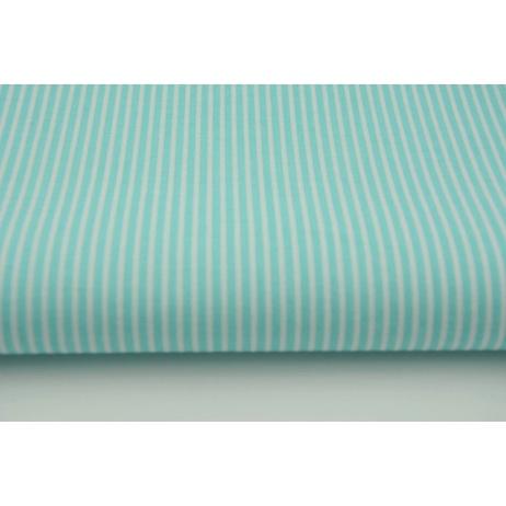 Bawełna turkusowe paski 2x1mm na białym tle
