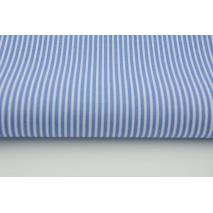 Bawełna 100% ciemnoniebieskie paski 2x1mm na białym tle