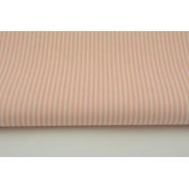 Bawełna 100% łososiowe paski 2x1mm na białym tle
