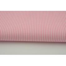 Bawełna 100% różowe paski 2x1mm na białym tle