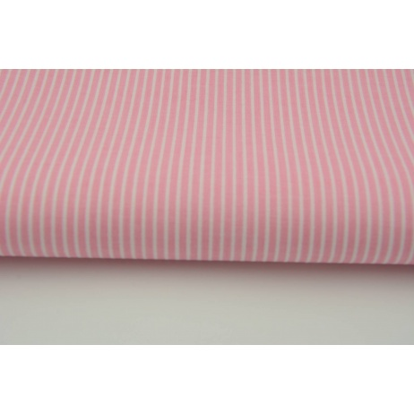 Bawełna różowe paski 2x1mm na białym tle