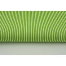 Bawełna 100% zielone s paski 2x1mm na białym tle