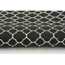 Cotton 100% small moroccan trellis on a black background