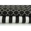 Cotton 100% small moroccan trellis on a black background