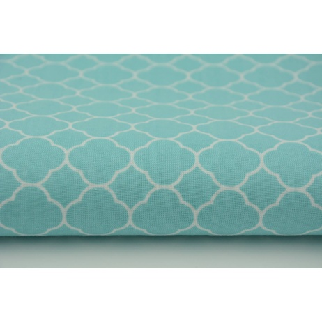 Cotton 100% small moroccan trellis on a turquoise background