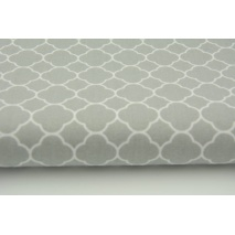 Cotton 100% small moroccan trellis on a light gray background