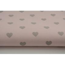 Bawełna 100% jasnoszare serduszka na różowym tle