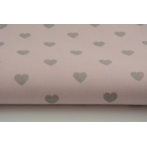 Cotton 100% light gray hearts on a pink background