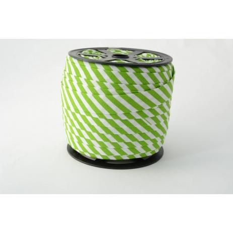 Cotton bias binding 5mm green stripes