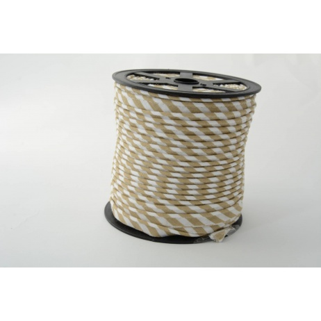 Cotton edging ribbon 5mm beige stripes