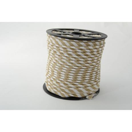 Wypustka 100% bawełna 5mm beżowe paseczki