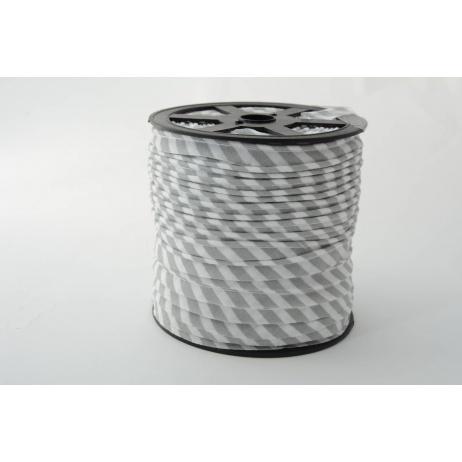 Cotton edging ribbon 5mm light gray stripes