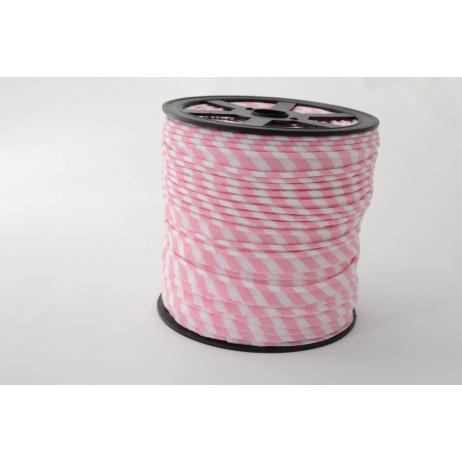 Wypustka, bawełna, paski 5mm różowe