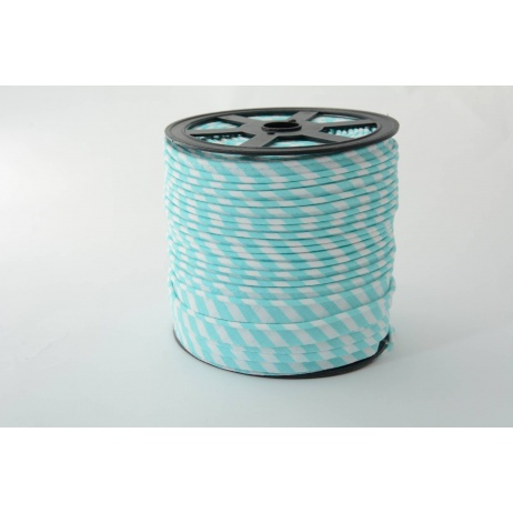 Cotton edging ribbon 5mm turquoise stripes