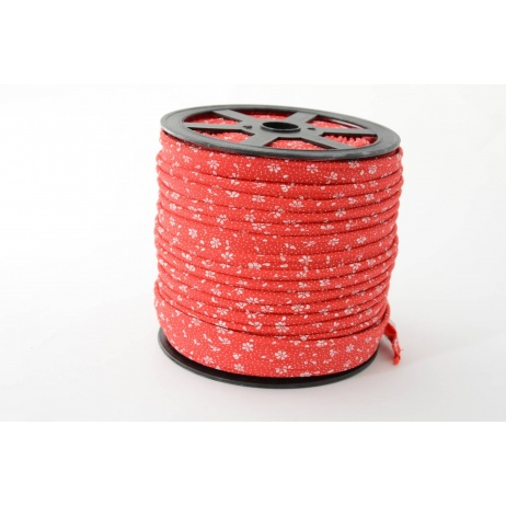 Cotton edging ribbon, meadow on a red background