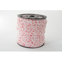 Cotton edging ribbon, red meadow on a white background