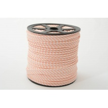 Cotton edging ribbon, 2mm salmon stripes