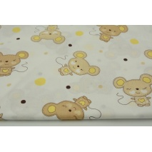 Cotton 100% beige mouses and yellow dots on a white background