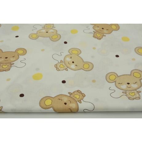 Bawełna 100% myszki beżowe i żółte kropki na białym tle