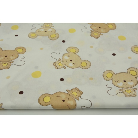 Cotton 100% mouses beige and yellow dots on a white background