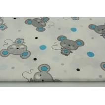 Bawełna 100% myszki szare i turkusowe kropki na białym tle