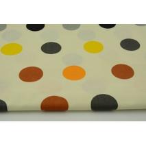 Bawełna 100% duże kropki żółty, pomarańcz, szary na kremowym tle