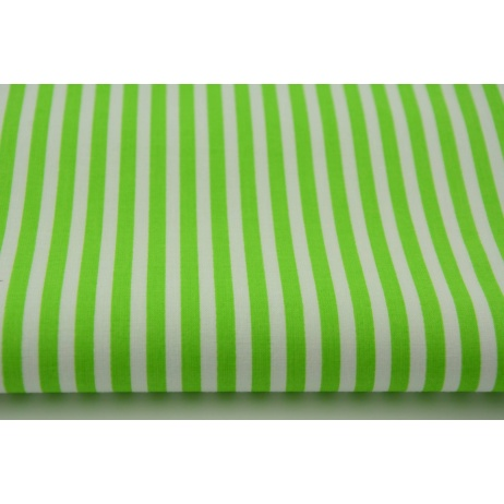 Bawełna 100% paski jaskrawo zielone 5mm