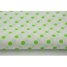 Bawełna 100% jaskrawozielone kropki 7mm na białym tle