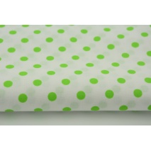 Cotton 100% bright green 7mm dots on a white background
