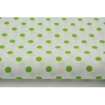 Bawełna 100% zielone kropki 7mm na białym tle S