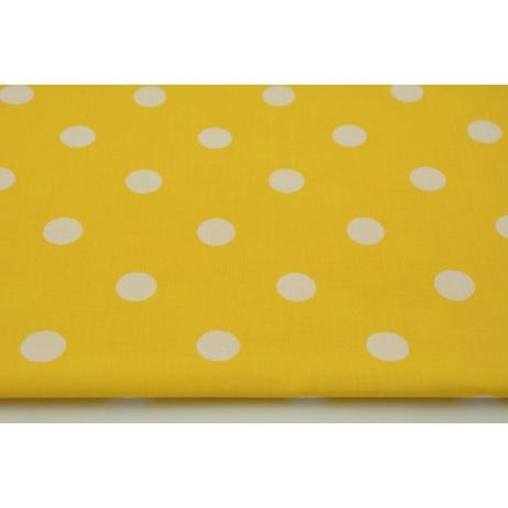 Bawełna 100% kropki 17mm na żółtym tle