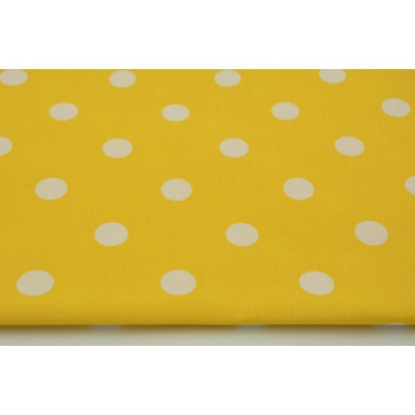 Cotton 100% polka dots 17mm on a yellow background
